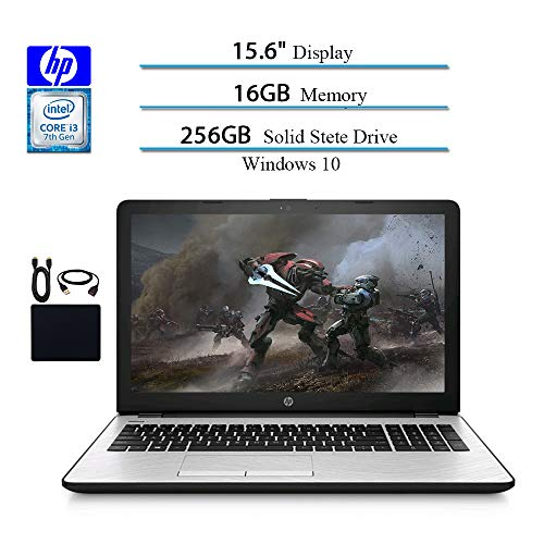 15.6 Inches HD 2019 Laptops Computer Notebook, Intel i3-7100U 2.40GHz, 16GB RAM, 256GB SSD, WiFi, Bluetooth, Silver, Windows 10 W/ Accessories