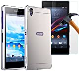 Xperia Z1 Case, Sony Xperia Z1 Case, Ranyi [Mirror Series] [and screen protector] Premium Mirror Back Cover + Acrylic Materials + Metal Aluminum Frame Case for Sony Xperia Z1 (L39h), silver