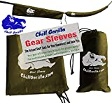 """Chill Gorilla Snakeskin Sleeves. Instant Stuff Sack & Protective Cover for hammocks, rain flys, tarps. 173"""" Total. Packs/unpacks Gear in Seconds. ENO Camping & Backpacking Accessories. OD Green"""