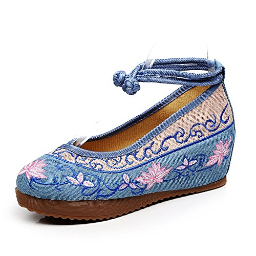 Marche Broderie t Confortable Fanwer Chaussures Plates Femmes Compenses Bleu xUzFqwg