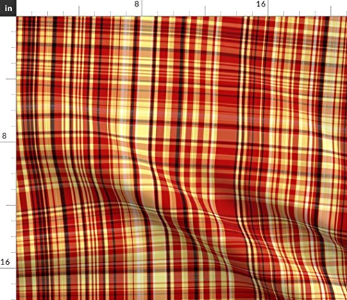 (Spoonflower Plaid Fabric - Red Yellow Orange Tartan Pond Ripple Stripes Print on Fabric by The Yard - Fleece for Sewing Blankets Loungewear and No-Sew Projects)