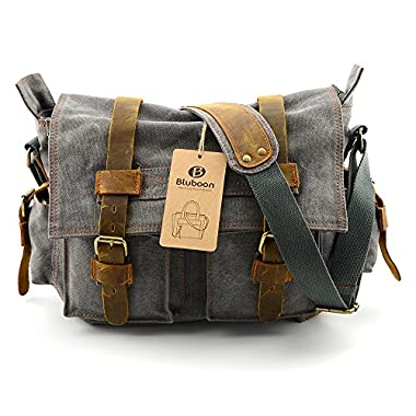 BLUBOON(TM) Mens Bags Cross Body Messenger Bags Single Shoulder Bags with Durable Canvas Strap Vintage Crossbody Bags Satchel (Grey)
