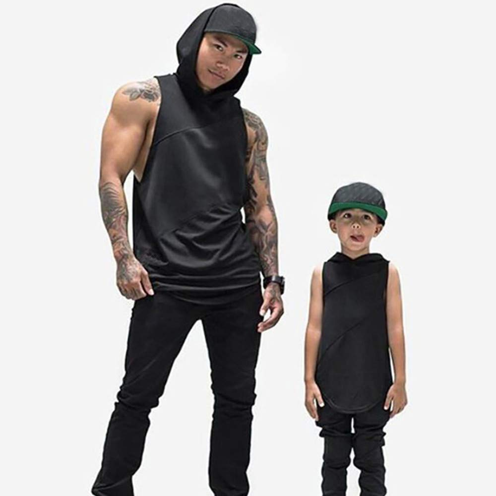 Qinnyo Mens Sports Tank Tops for Men Fitness Muscle Mesh Hoodie Sleeveless Singlet T-Shirt Vest Pullover M-2XL