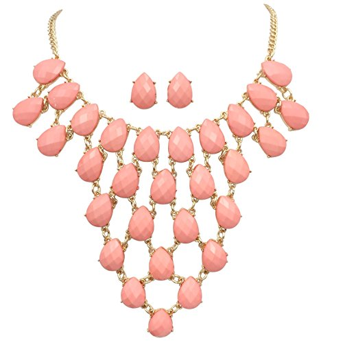 Teardrop Cluster Statement Bib Boutique Style Necklace & Earrings Set - Assorted colors (Light Pink) (Pastel Flower Necklace)