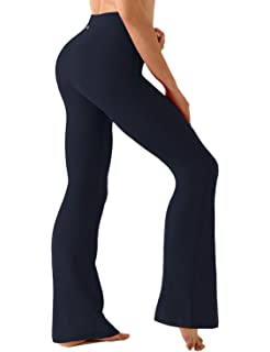 Amazon com: ODODOS Power Flex Boot-Cut Yoga Pants Tummy Control