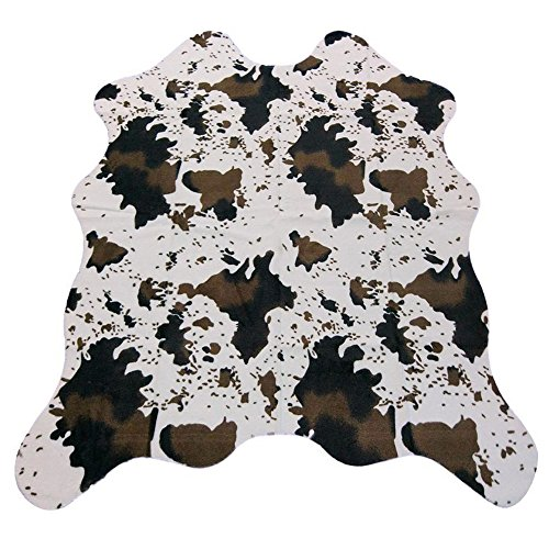 MustHome Cow Print Rug 5x4.4 Feet Faux Cowhide Rug for Kids Rooms/Living Room - Faux Cowhide Rugs