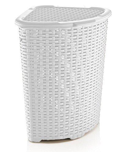 Rattan (Wicker Style) Corner Laundry Hamper 1.47 Bushel / 52 Liter (Laundry Corner Wicker Basket)
