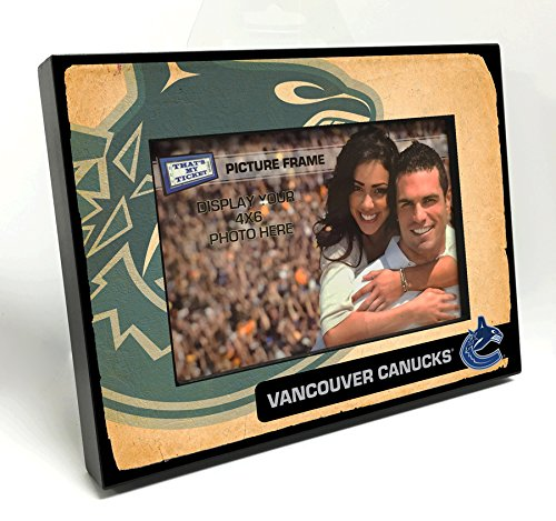 That's My Ticket NHL Vancouver Canucks Vintage Look Wooden Picture Frame, Multicolor, 4