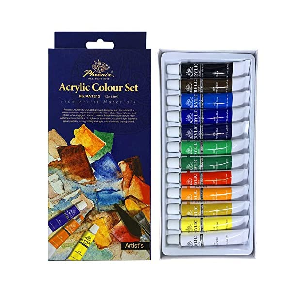 PHOENIX-Acrylic-Color-Paint-Set-of-12-Tubes-x-12-ml-Non-Toxic-Paints-for-Kids-Students-Beginners-Artists