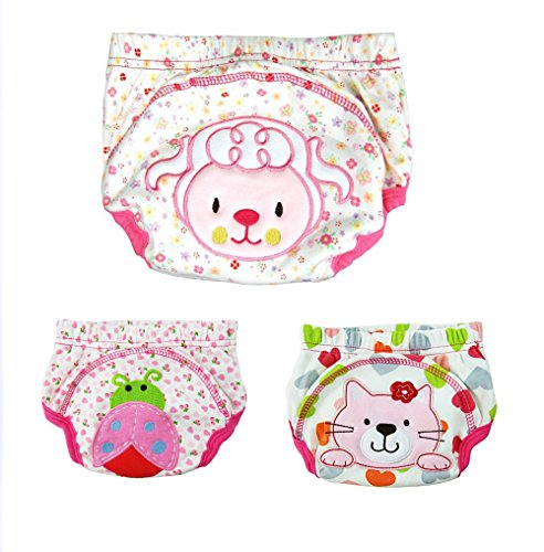 New 3PCS Baby Animal Ladybug Sheep Cat Pattern Pee Potty Cotton Training Pants Diaper Nappy (90/L, GIRL)