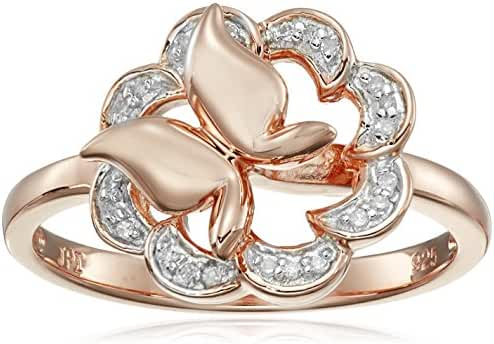 Sterling Silver Butterfly Flower Diamond Ring (0.07 cttw, I-J Color, I2-I3 Clarity), Size 7