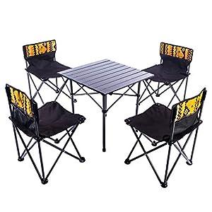Poptoy Ensemble de table et chaises pliantes d'extérieur – Table de pique-nique portable – 5 pièces