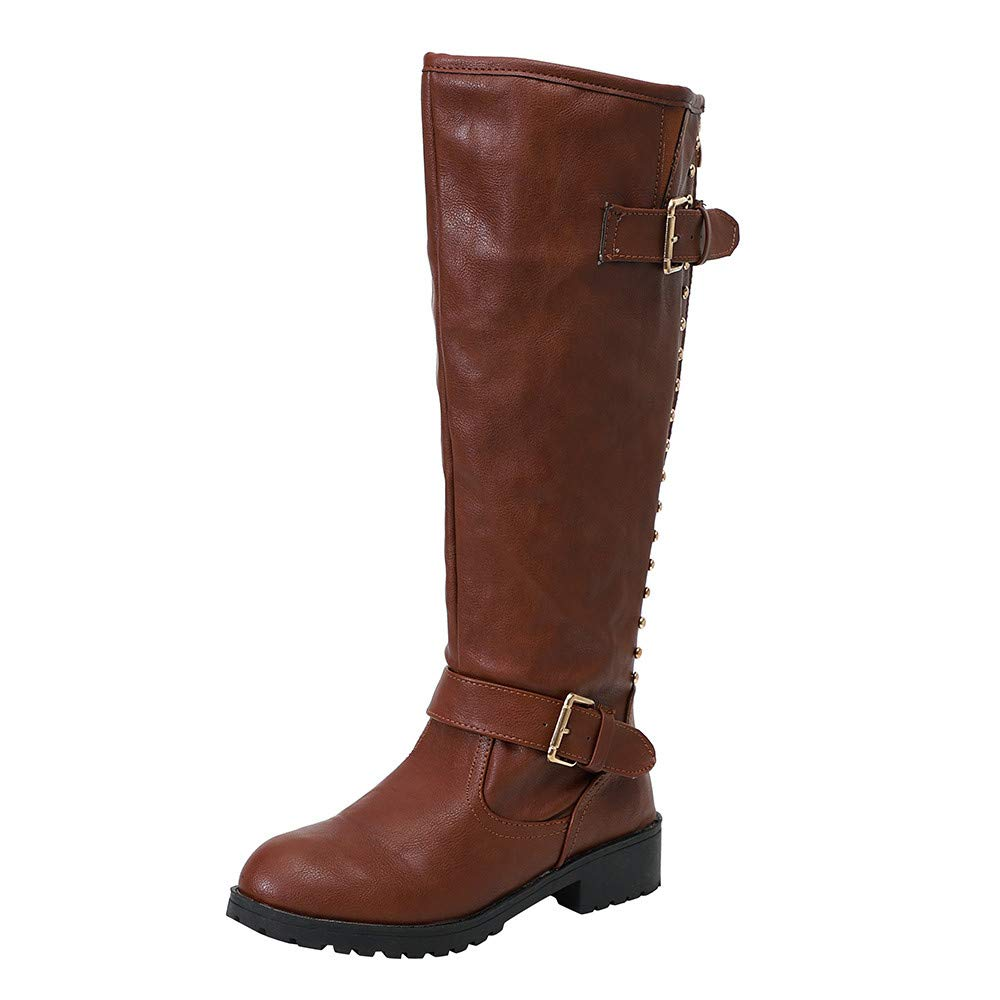 HHmei Industrial And Construction Shoes, Women Boots Winter Tall Riding Leather Flat Shoes   Rivet Roman Knee High Cowboy Martin Long Boots, Ankle Fancy Across Black After Hour Black 6.5 HHmei_Boot_8Nov12_054