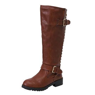 01506e12bc59cc friendGG❤ ❤ Damen Stiefel Damenschuhe Nietenstiefel Kniestiefel Lange Stiefel  Herbst und Winter Stiefel Flache Stiefel Lässige Stiefel Cowboystiefel ...
