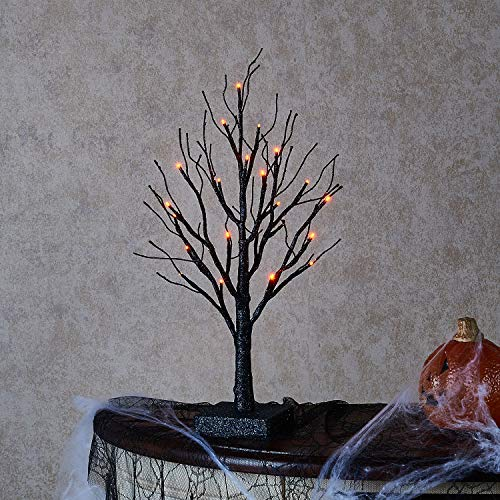 (Hairui Tabletop Sparkle Spooky Tree with Lights Battery Operated for Home Witch Decor Artificial Pre Lit Decorative Tree Lights Orange Centerpieces for Halloween Party Decoration 24LED)