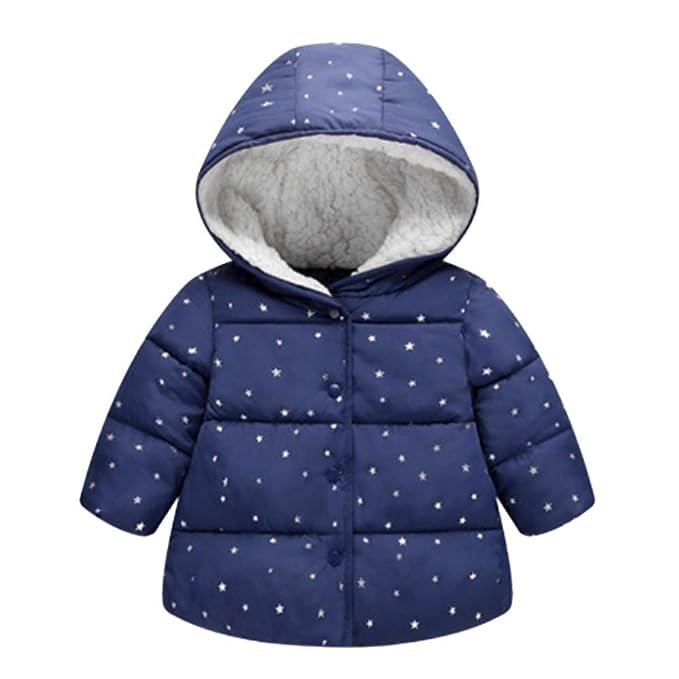 Abrigos Bebé, Dragon868 2018 Invierno niña Chica Estrella Encapuchado Chaqueta de Invierno Abrigos(Azul