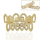 HonsCreat 18K Gold Plated Shiny CZ Mouth Teeth Grills Hollow Open Fangs Hip Hop Grills Top Lower Set