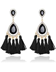 Miraculous Garden Tassel Earrings Drop Dangle Teardrop Long Fringe Earrings for Women Girls Boho Bohemian Rhinestone Crystal Earrings Boderier Trendy