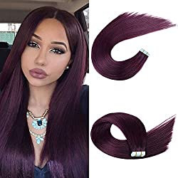 Tape in Human Hair Extensions 5pcs Silky Straight Remy Tape Hair Extensions (20, purple)