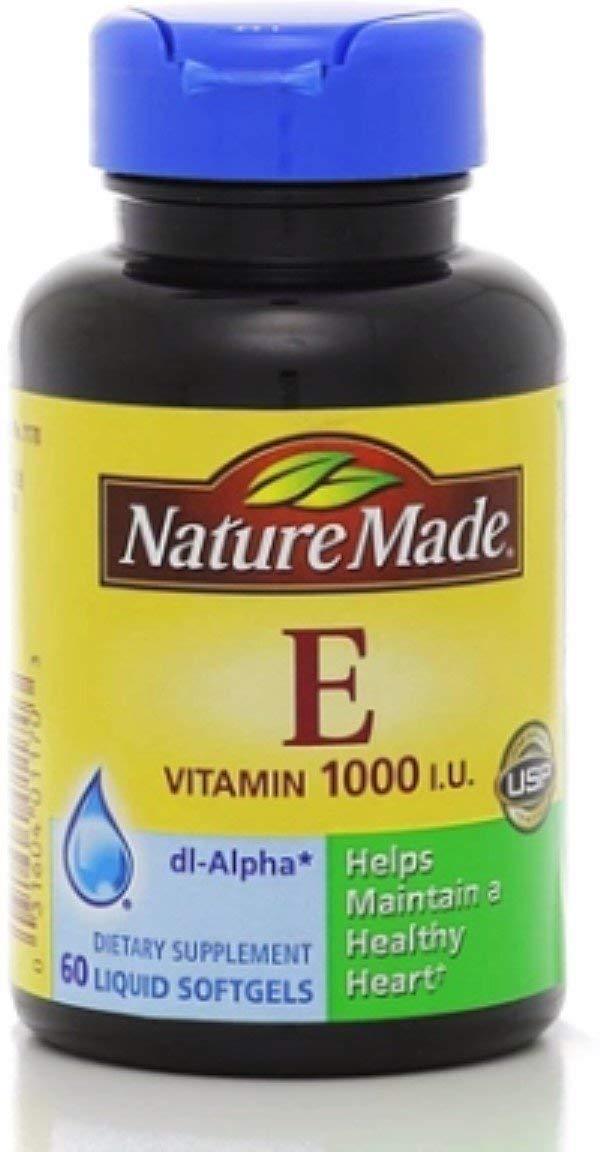Nature Made dl-Alpha Vitamin E 1000 IU Softgels 60 ea (Pack of 4)