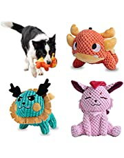 Als Ellan Latest Squeaky Stuffed Dog Toys Pack for Dogs, Durable Plush Chew Toys with Squeakers, Stuffed Animal Cute Soft Pet Toys for for Puppies Teething, Small Medium Large Dogs (3 Pack)