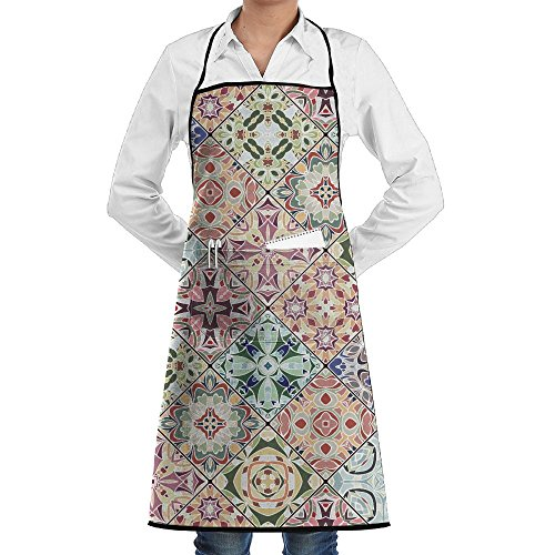 NRIEG Mosaic Floral Set Pattern Faction Unisex Kitchen Cooking Garden Apron,Convenient Adjustable Sewing Pocket Waterproof Chef (Mosaic Garden Thermometer)