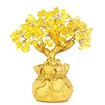 BWINKA Feng Shui Natural Citrine Gem Yellow Crystal Money Tree Office Home Table Office for Wealth Luck,Best Gift