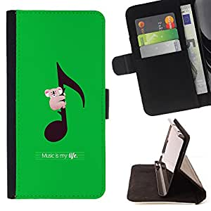 Koala Australia Music Green - Painting Art Smile Face Style Design PU Leather Flip Stand Case Cover FOR Samsung Galaxy Core Prime @ The Smurfs