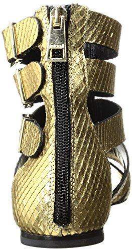 Amazon.com: Just Cavalli Mujer Python piel Oro Gladiador ...