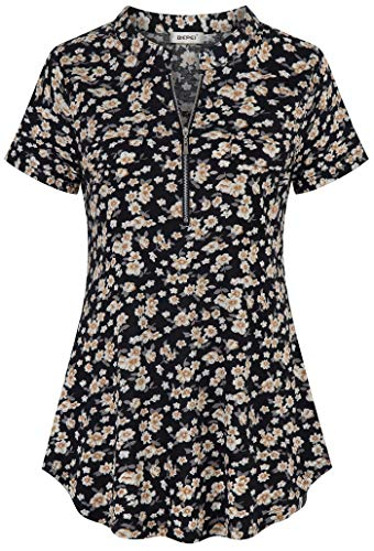(BEPEI Womens Short Sleeve Floral Tunic Shirt Zip up V Neck Work Casual Blouse Top Black Beige L)