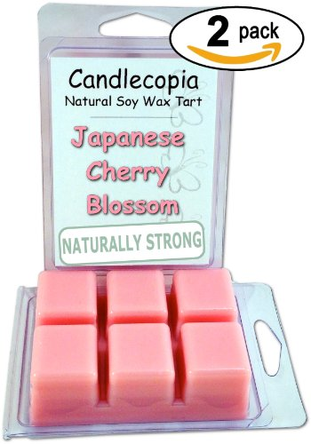Candlecopia Japanese Cherry Blossom 6.4 oz Scented Wax Melts - Fragrant blossoms of Japanese cherry tree along with a hint of vanilla, a touch of lily and a bit of rose - 2-Pack of naturally strong scented soy wax cubes throw 50+ hours of fragrance when melted in Scentsy®, Yankee Candle® or standard electric tart warmer (50 Cherry Blossom)