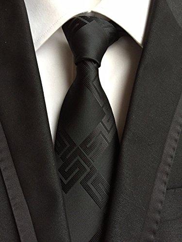 new-classic-geometric-black-jacquard-woven-100-silk-mens-tie-necktie