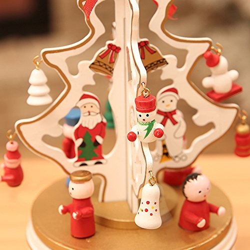 Christmas Decorations Christmas Tree Wooden Rotating Music Box Desktop Decoration Christmas Gifts (white) by HorBous (Image #2)