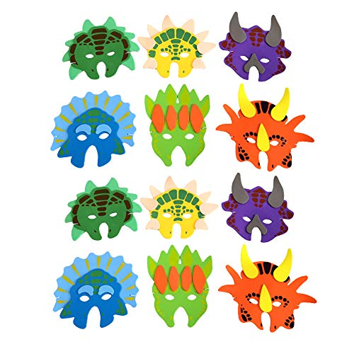 Qidiwin Kids Eva Form Dinosaur Masks, 12 PCS per Pack -