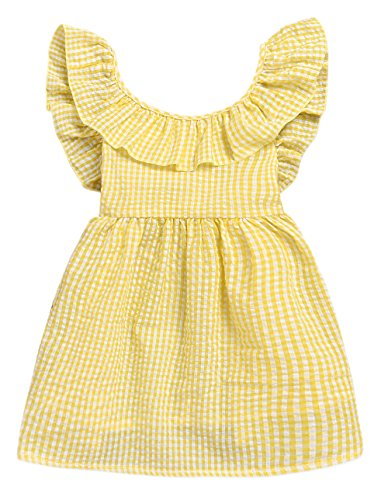 Seven Young Toddler Girls Plaid Tutu Dress Kids Summer Ruffle Backless Skirt Yellow Lattice A-Line Princess Dress (Yellow, 2 T) by Seven Young