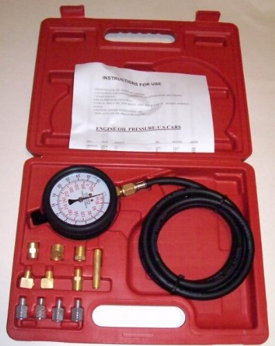 Engine Oil and Transmission Pressure Tester Gauge Diagnostic Test Kit with Adapters Case 300 PSI (Engine Oil Pressure Gauge)