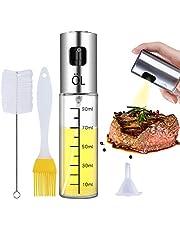 Olive Oil Sprayer Bottle Oil Dispenser with Scale Transparent Food-Grade Portable Spray Bottle Vinegar Bottle Air Fryer Stainless Steel for Salad BBQ Frying Grilling Kitchen Baking Roasting