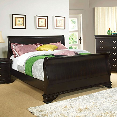 Laurelle Classic Cottage Style Espresso Finish Cal King Size Bed Frame Set - King Cottage Sleigh Bed