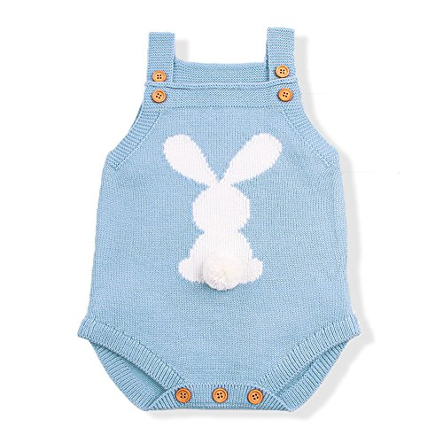 mimixiong Baby Knit Rompers Clothes Toddler Jumpsuit Easter Bunny Sleeveless Outfit (90,Blue) -