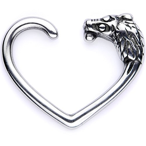 Lion Body - Body Candy Body Piercing Jewelry Stainless Steel 16G Left Closure Daith Cartilage Lion Heart Tragus Earring