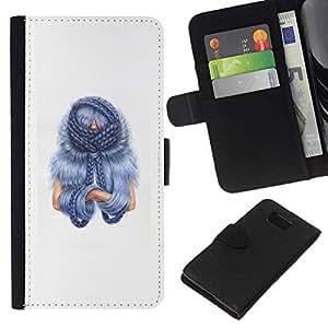 All Phone Most Case / Oferta Especial Cáscara Funda de cuero Monedero Cubierta de proteccion Caso / Wallet Case for Samsung ALPHA G850 // Blu Hair