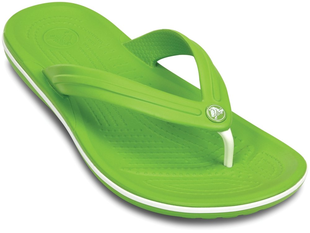 Crocs CROCBAND FLIP Unisex Toe Post Flip Flops Volt Green/White UK M8/W9 | US M9/W11
