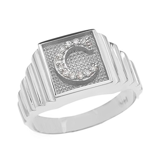 Men's 10k White Gold Layered Band Square Face Diamond Initial Letter C Ring (Size 8)