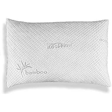 Hypoallergenic Pillow – ADJUSTABLE THICKNESS Bamboo Shredded Memory Foam Pillow - Kool-Flow Micro-Vented Bamboo Cover, Dust Mite Resistant & Machine Washable - Premium Quality - MADE IN USA - QUEEN