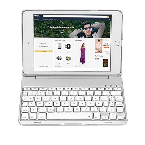 Earto iPad Mini 4 Keyboard Case 7 Color Backlit Bluetooth Keyboard Cover Slim Built-in Stand Folio Keyboard Case for iPad Mini 4 (Silver)