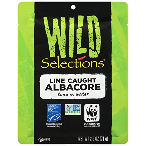 WILD SELECTIONS Line Caught Albacore Tuna Pouch, 2.5 Ounce Pouches (Pack of 12), Tuna Fish, High Protein Snacks, Alternative to Canned Tuna, Great for Tuna Salad, Gluten Free Foods Grocery, Keto Food