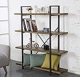 O&K Furniture 4-Tier Bookcase, Vintage Industrial Style Bookshelves, Vintage Green