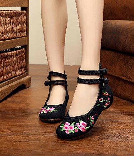 DESY Fein gestickte Schuhe, Leinen, Sehnensohle, ethnischer Stil, weibliche Schuhe, Mode, bequem, Segeltuchschuhe Black