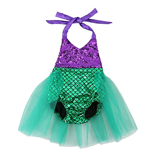Wennikids Baby Girls Sequins Mermaid Bodysuit Romper Jumpsuit Summer Sunsuit Outfits Small Purple/Green -
