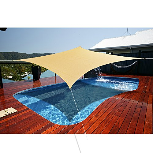 Alion Home HDPE UV Block Curved Edge Rectangle Sun Shade Sail Permeable Canopy Custom 18 x 24 , Walnut